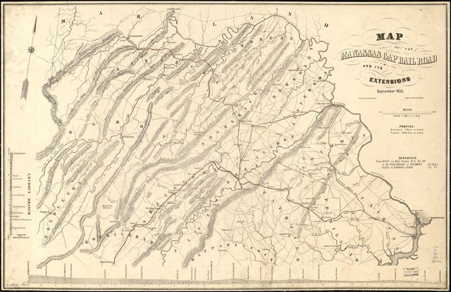 Map of the Manassas Gap Railroad and its extensions; September, 1855.
