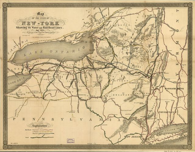 Map of the state of New-York showing its water and rail road lines. Jan 1855, by direction of John T. Clark State Engineer & Surveyor.