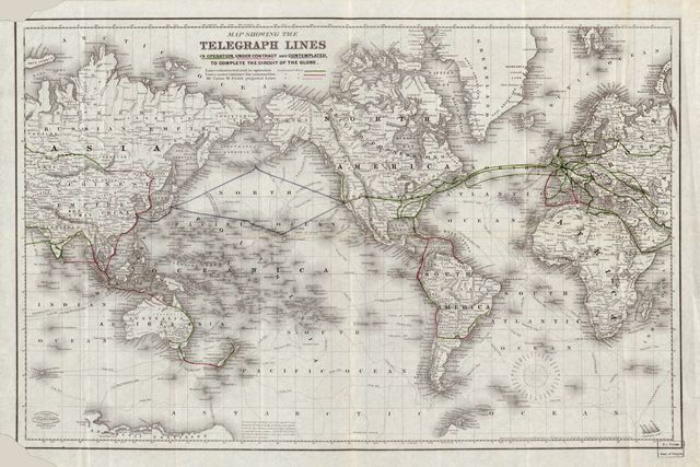 Map showing the telegraph lines in operation, under contract, and contemplated, to complete the circuit of the globe /