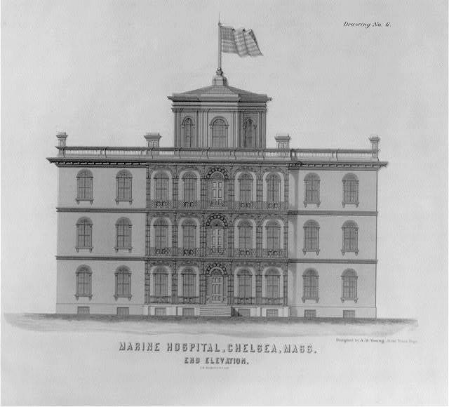Marine Hospital, Chelsea, Mass. End elevation, drawing no. 6