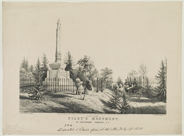 New York pilot's monument: in Greenwood Cemetery, L.I.