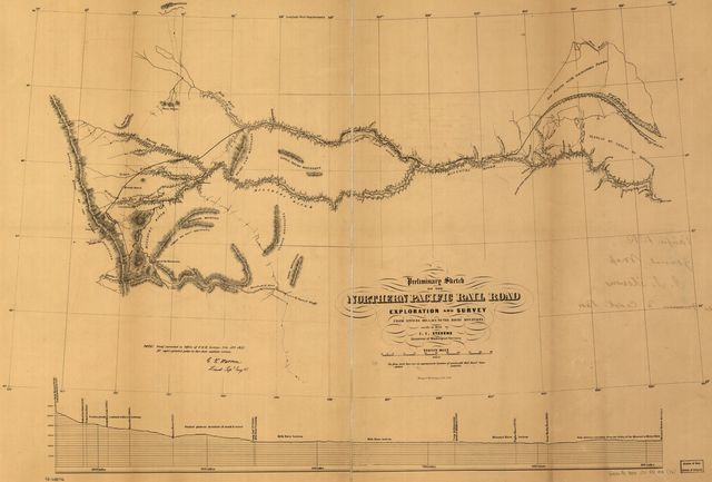 Preliminary sketch of the Northern Pacific Rail Road exploration and survey, by I. I. Stevens, Governor of Washington Territory.