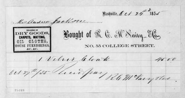 R. C. McNairy & Company to Sarah Yorke Jackson, October 27, 1855