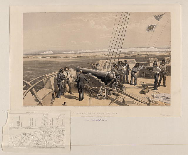 Sebastopol from the sea - sketched from the deck of H.M.S. Sidon / W. Simpson delt. ; T. Picken lith.