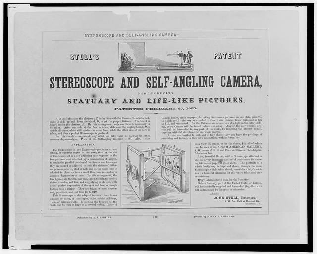 Stull's patent stereoscope and self-angling camera, for producing statuary and life-like pictures.