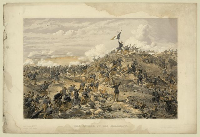 The attack on the Malakoff / W. Simpson del. ; E. Morin, lith. ; Day & Son, Lithrs. to the Queen.