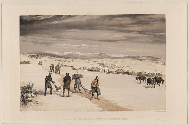 The camp of the second division, looking east January 1855 / W. Simpson delt.