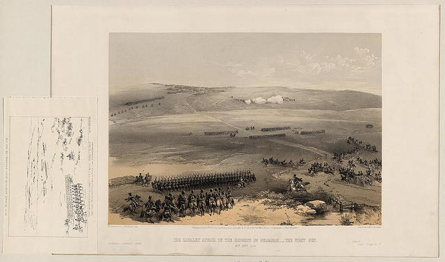 The cavalry affair of the heights of Bulganak - the first gun, 19th Sepr. 1854 / W. Simpson del. ; Needham lith.