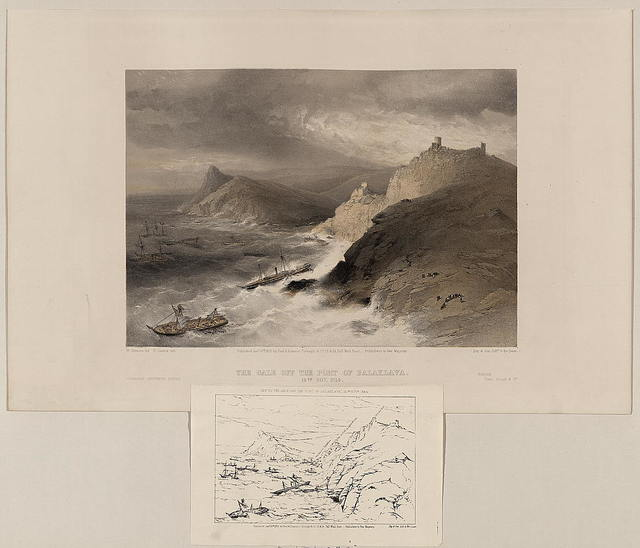 The gale off the port of Balaklava, 14th Nov. 1854 / W. Simpson del. ; R. Carrick lith.