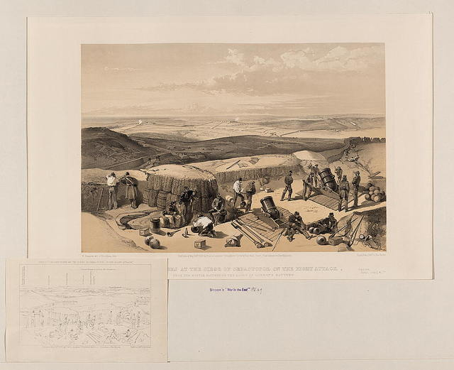 The new works at the siege of Sebastopol on the right attack - from the mortar battery on the right of Gordon's battery / W. Simpson del. ; J. Needham lith.