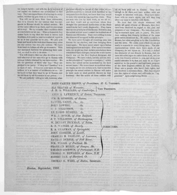 To the citizens of Missouri. The directors of the New England Emigrant aid company, are desirous to correct some of the misrepresentations which have been seduloudly circulated in many of the public prints of your state, in regard to their plan