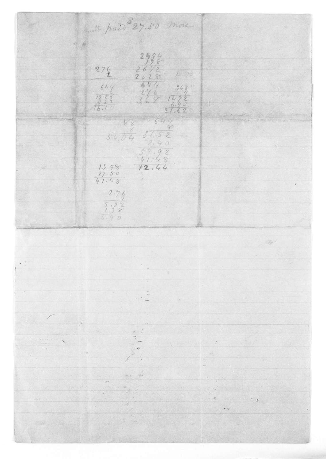 Unidentified correspondence concerning telegraph revenues and improvements