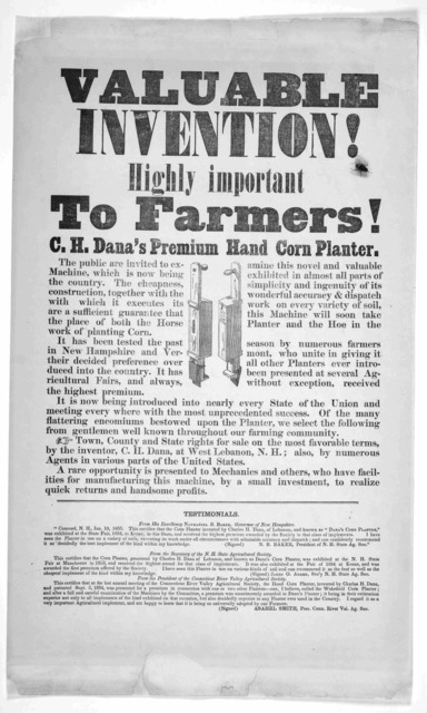 Valuable invention! Highly important to farmers! C. H. Dana's premium hand corn planter. [1855].