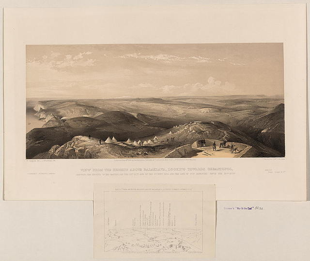View from the heights above Balaklava, looking towards Sebastopol, shewing the ground of the battles of the 25th Octr. and of the 5th Novr. 1854 and the line of our defences since the 25th Octr. / W. Simpson del. ; J. Needham lith.