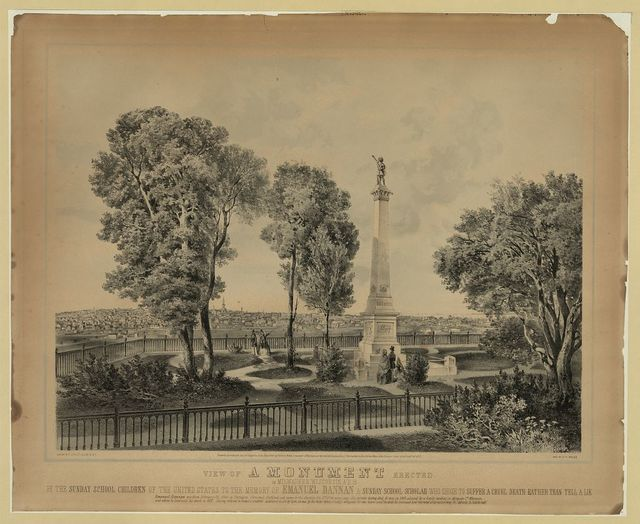 View of a monument erected in Milwaukee, Wisconsin, A.D. 18...