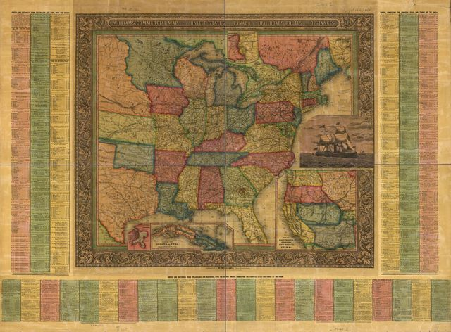 Williams' commercial map of the United States and Canada with railroads, routes, and distances,