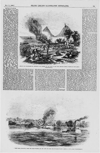 2 illus.: 1. Virgin Bay - slaughter of Americans and burning of the pier by the Costa Ricans; 2. Virgin Bay, Nicaragua, from the lake - Walker and his army on board the steamer
