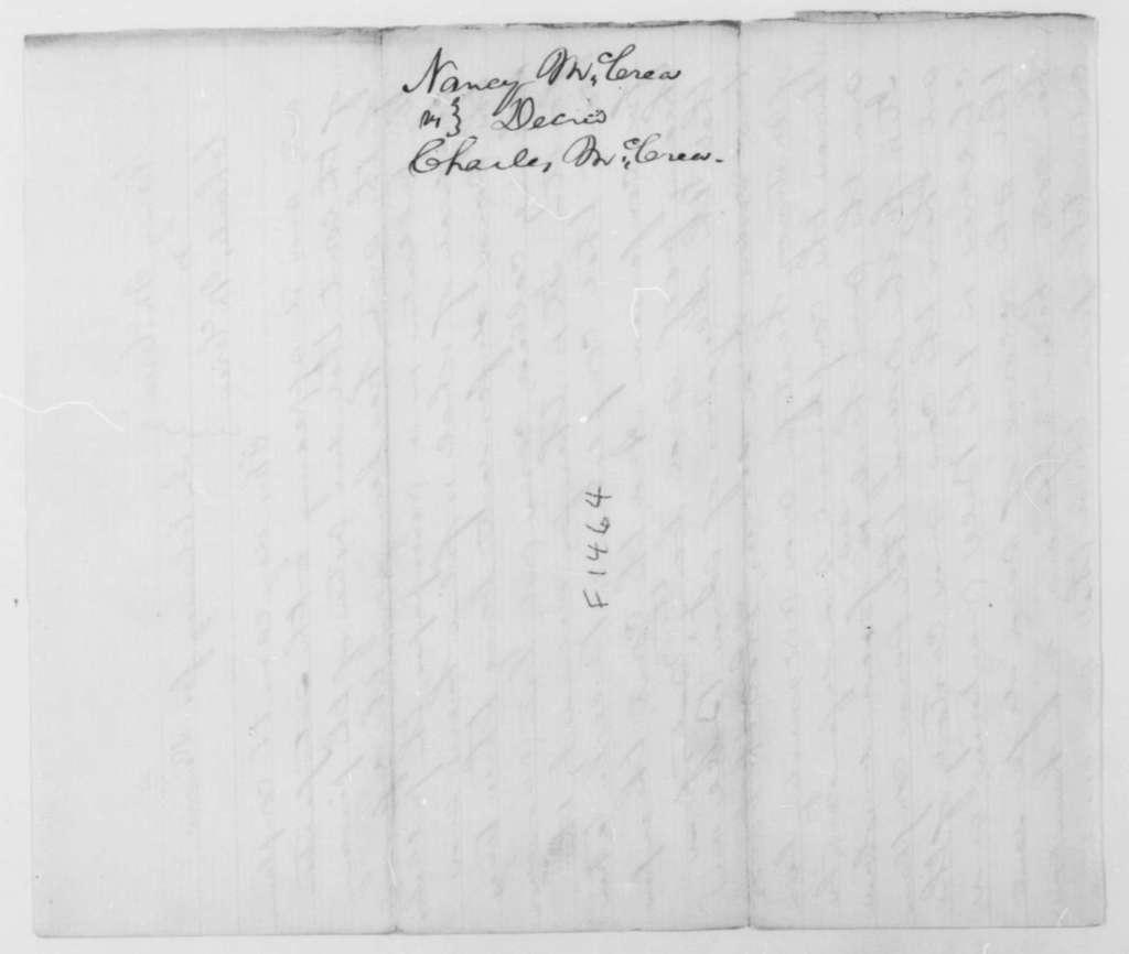 [Abraham Lincoln], [March 21, 1856]  (Divorce Decree in case of Nancy McCrea vs. Charles McCrea; signed by David Davis)