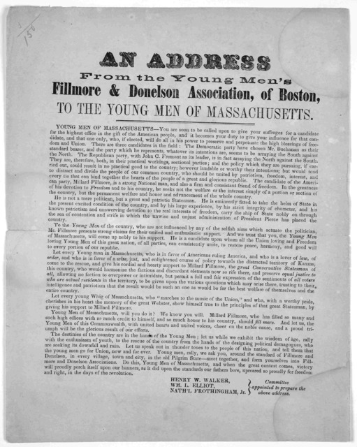 An address from the Young Men's Fillmore & Donelson Association, of Boston, to the young men of Massachusetts. [1856?].