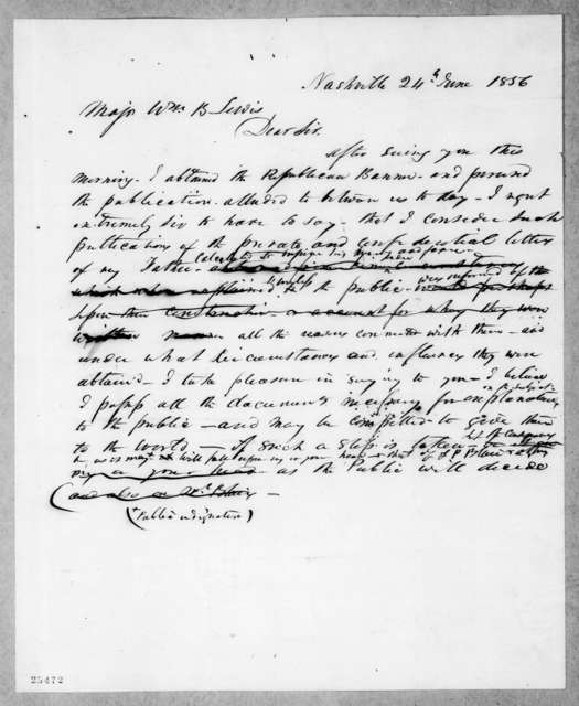 Andrew Jackson to William Berkeley Lewis, June 24, 1856