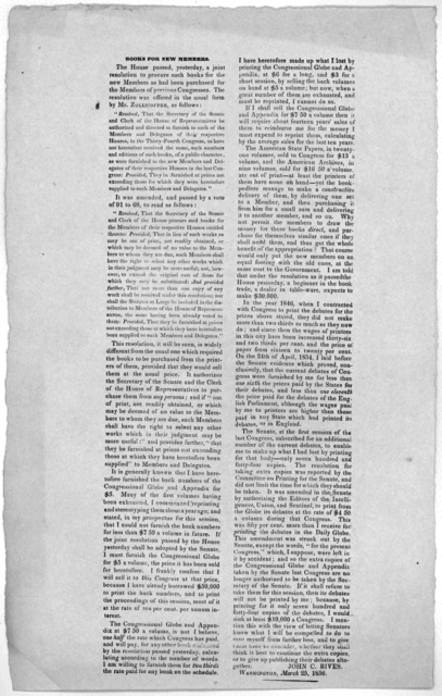 Books for new members. The House passed, yesterday, a joint resolution to procure such books for the new members as had been purchased for the members of previous Congresses ... John C. Rives. Washington, March 25, 1856.