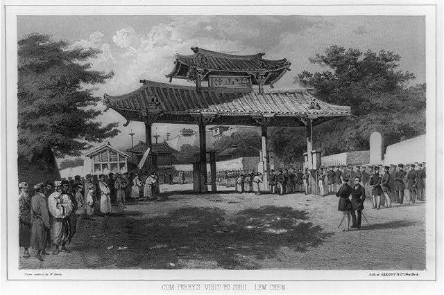 Com. Perry's visit to Shui, Lew Chew / from nature by W. Heine ; lith. of Sarony & Co., New York.