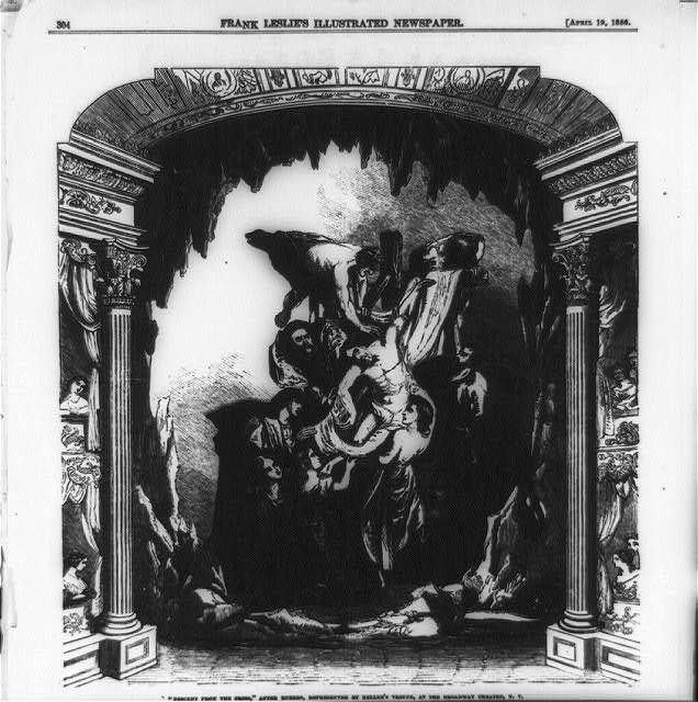 """Descent from the Cross,"" after Rubens, represented by Keller's troupe, at the Broadway Theater, N.Y. [Representation on stage of Peter Paul Rubens' famous painting, showing Jesus being removed from the Cross after crucifixion]"