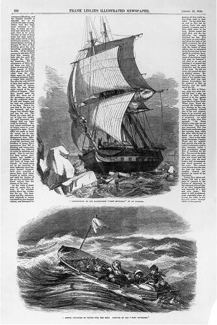 Destruction of the packet-ship John Rutledge by an iceburg, Feb. 20, 1856 The only survivor, Thomas W. Nye, of New Bedford [with others in lifeboat].
