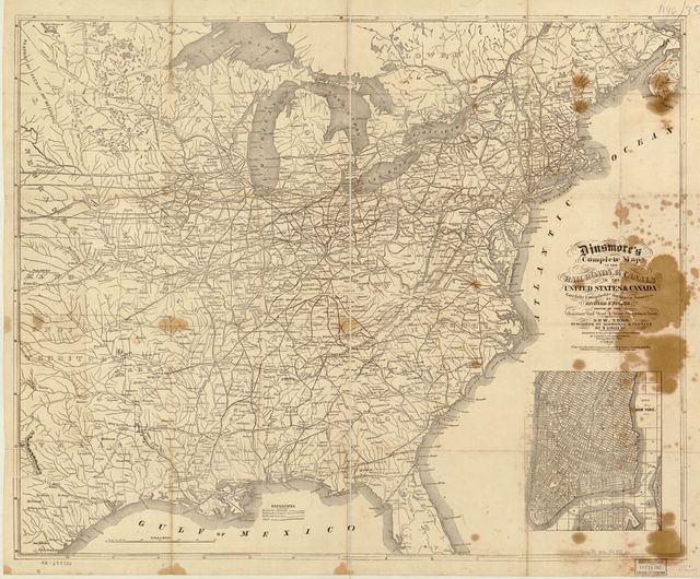 Dinsmore's complete map of the railroads & canals in the United States & Canada carefully compiled from authentic sources by Richard S. Fisher, editor of the American Rail Road & Steam Navigation Guide.