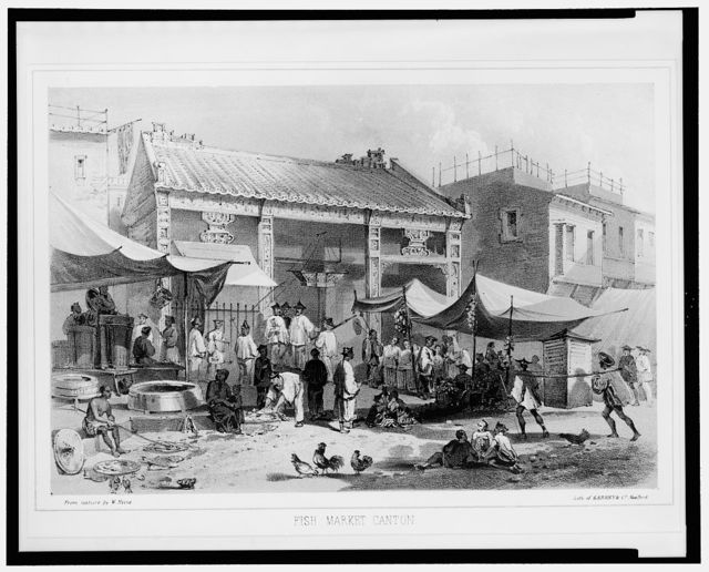 Fish market Canton / from nature by W. Heine ; lith. of Sarony & Co., New York.