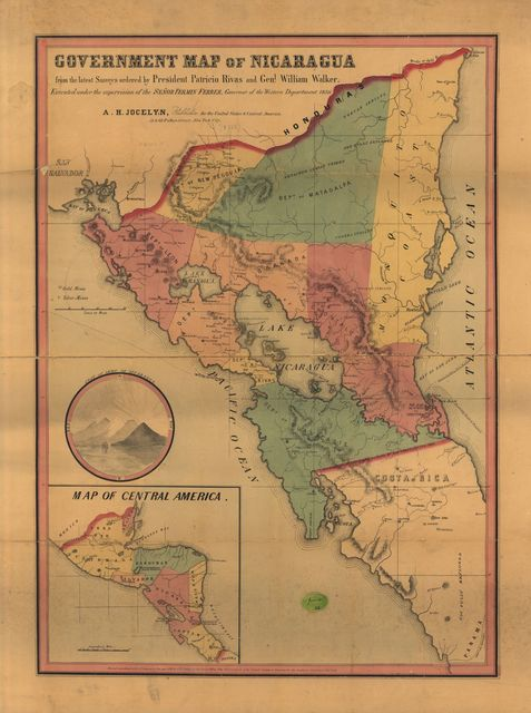 Government map of Nicaragua : from the latest surveys ordered by President Patricio Rivas and Genl. William Walker ; executed under the supervision of the Señor Fermín Ferrer, Governor of the Western Department, 1856.