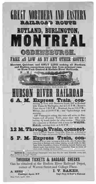 Great northern and eastern railroad route, Rutland, Burlington, Montreal and Ogdensburg. Fare as low as by any other route! ... New York, April 1856.