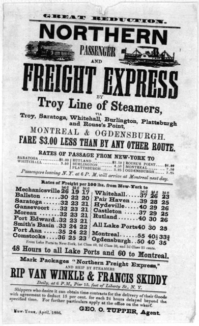 Great reduction. Northern passenger and freight express by Troy line of steamers, via Troy, Saragota, Whitehall, Burlington, Plattsburgh and Rouse's point. Montreal & Orgensburgh ... New York, April 1856.