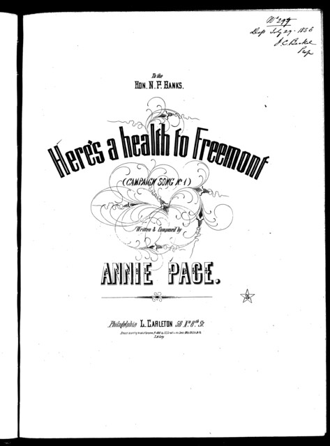 Here's a health to Freemont, or, Hurrah! For Fremont the brave