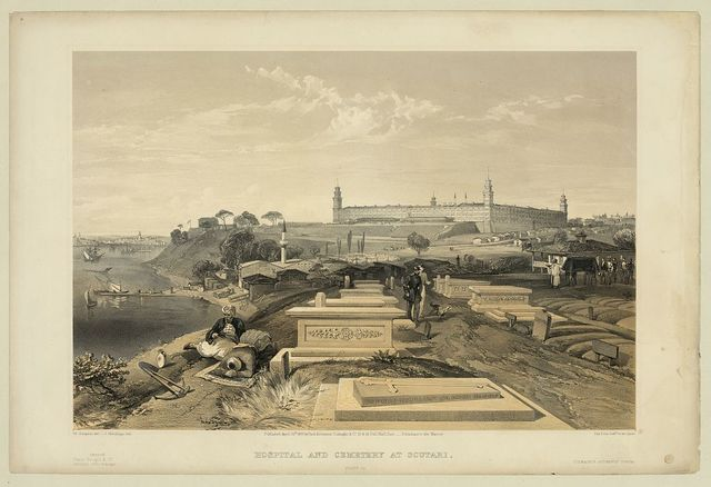 Hospital and cemetery at Scutari / W. Simpson del. ; J. Needham, lith. ; Day & Son, Lithrs. to the Queen.