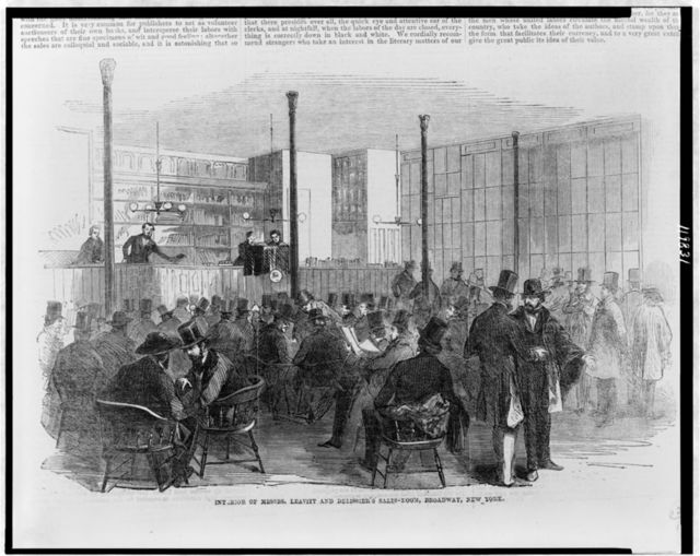 Interior of Messrs. Leavitt and Delissier's sales-room, Broadway, New York