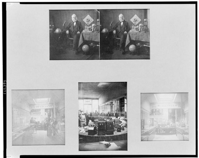 [Interior views of the McAllister & Brother optical shop in Philadelphia, Pennsylvania, with stereo portrait of John McAllister, Jr. in his store]