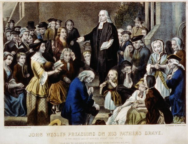 John Wesley preaching on his fathers grave: in the church yard at Epworth  Sunday June 6th 1742
