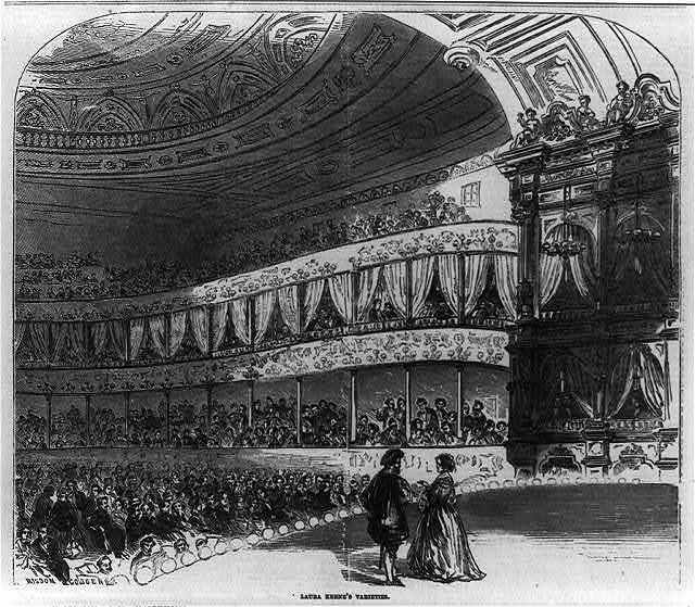 Laura Keene's Varieties [Man and woman on stage; crowded theater in backgrd.]