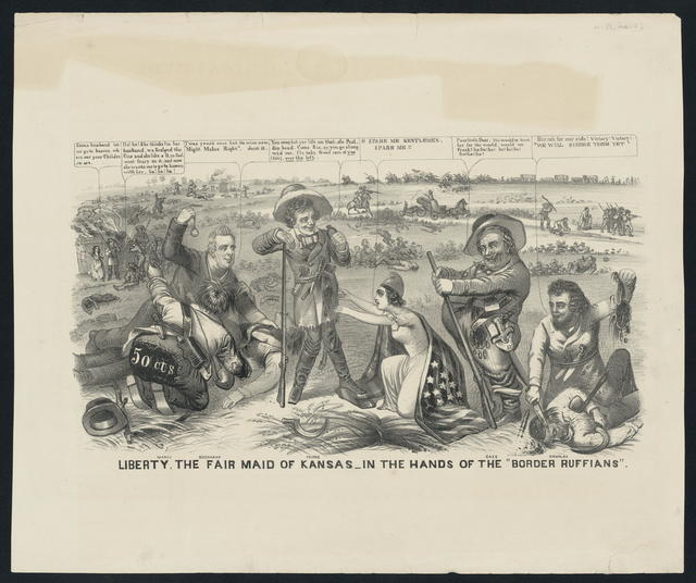 """Liberty. The fair maid of Kansas in the hands of the """"border ruffians""""."""