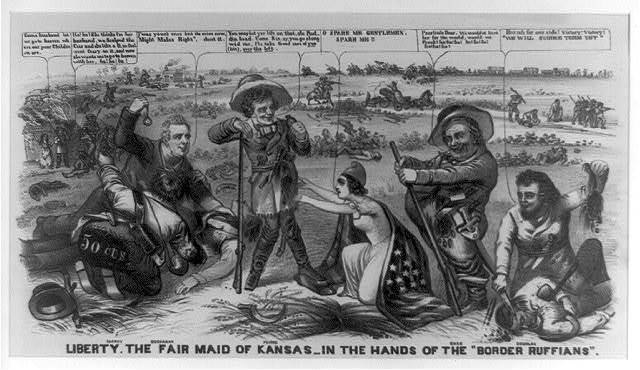 "Liberty, the fair maid of Kansas--in the hands of the ""border ruffians"""
