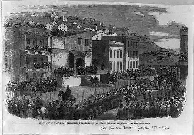 Lynch law in California - surrender of prisoners at the county gaol [jail], San Francisco