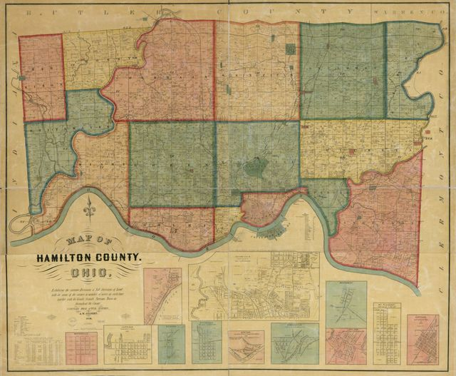 Map of Hamilton County, Ohio : exhibiting th various divisions and sub divisions of land with the name of the owners & number of acres in each tract together with the roads, canals, streams, towns &c. throughout the county /