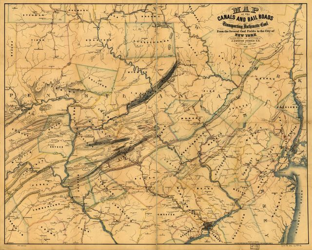 Map of the canals and railroads for transporting anthracite coal from the several coal fields to the city of New York; drawn under the direction of J. Dutton Steele, C.E. by W. Lorenz, Asst. Eng. 1856.