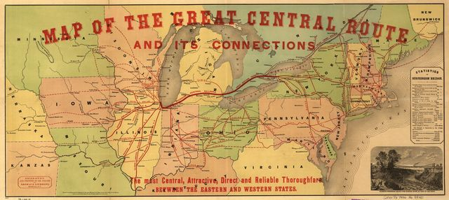 Map of the Great Central Route and its connections, the most central, attractive, direct and reliable thoroughfare between the eastern and western states.