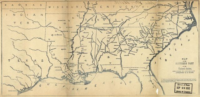 Map of the southern part of the United States, designed to accompany Appletons' R.R. Guide.
