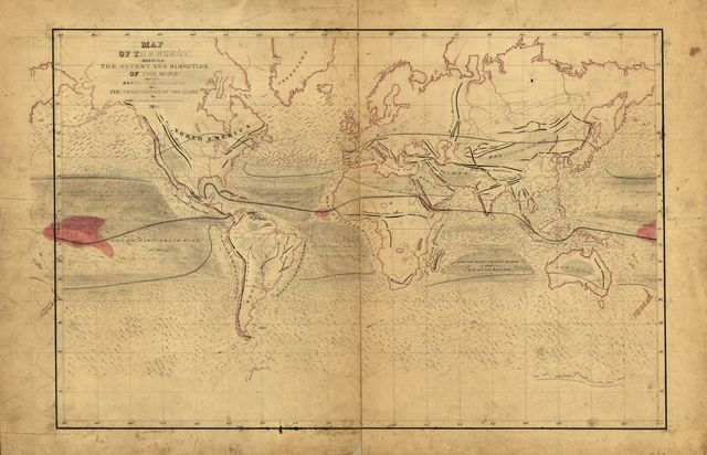 Map of the world shewing the extent and direction of the wind and the route to be followed in a circumnavigation of the globe /