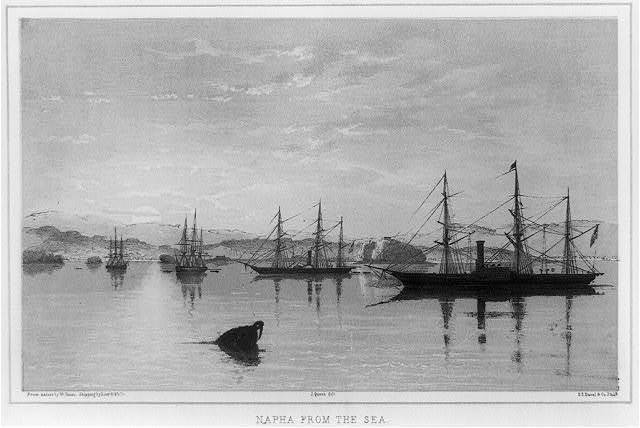 Napha from the sea / from nature by W. Heine ; shipping by Lieut. H. Walke ; J. Queen, delt. ; P.S. Duval & Co., Phila.