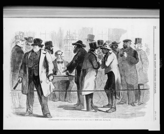Naturalization of foreigners, scene in Tammany Hall / drawn from life.