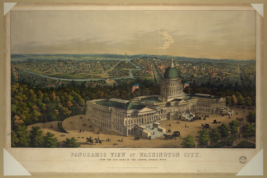 Panoramic view of Washington City from the new dome of the Capitol, looking west / / drawn from nature by Edwd. Sachse.